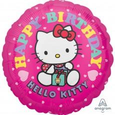 Round Hello Kitty Standard HX Happy Birthday Foil Balloon 45cm