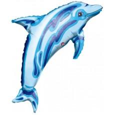 Hawaiian Luau SuperShape See-Thru Jewel Blue Dolphin Shaped Balloon