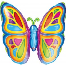 Multi Colour SuperShape XL Bright Butterfly Shaped Balloon 63cm x 63cm