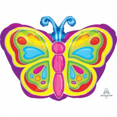 Multi Colour Junior XL Bright Butterfly Shaped Balloon