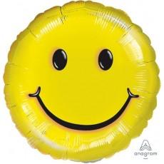 Round Yellow Emoji Smile Face Foil Balloon 10cm