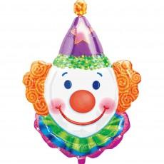 Multi Colour SuperShape XL Clown Head Juggles Shaped Balloon 63cm x 83cm