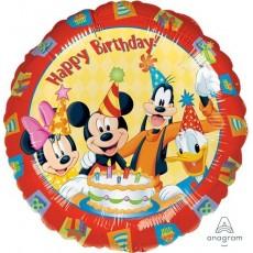 Round Mickey Mouse & Friends Standard HX Happy Birthday! Foil Balloon 45cm