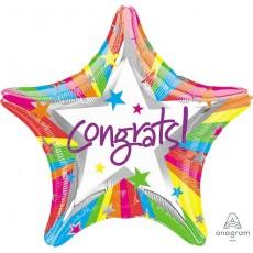 Star Congratulations Standard XL Rainbow Congrats! Shaped Balloon 45cm