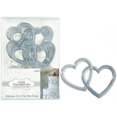 Wedding Silver Hearts Cake Toppers