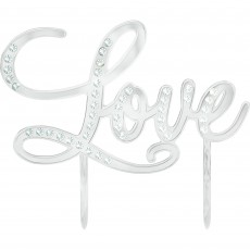 Silver Love Electro Plated & Gems Cake Topper 13cm