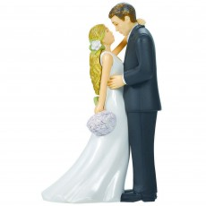 Wedding Bride with Bouquet & Groom Plastic Cake Topper
