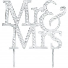 Wedding Gems Decorated Mr & Mrs Cake Topper 13.3cm