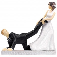 Wedding Bride & Groom Leg Puller Cake Topper
