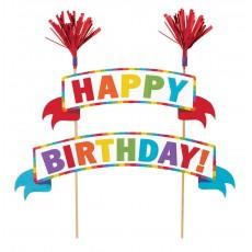 Happy Birthday Multi Coloured Banner Kit Cake Topper