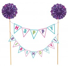 Happy Birthday Purple Banner Kit Cake Topper