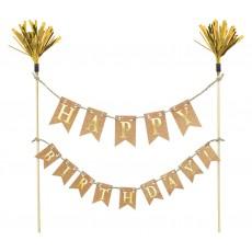 Happy Birthday Gold Cake Topper