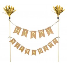 Happy Birthday Gold Gold Banner Kit Cake Topper
