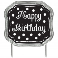 Black Plastic Happy Birthday to You! Cake Topper 11.4cm x 12.7cm