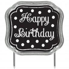 Happy Birthday Black, White & Silver Black & White Dots with Metallic Silver Look Border Cake Topper