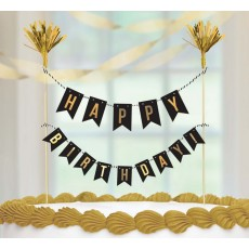 Happy Birthday Premium Gold Hot Stamped Cake Topper
