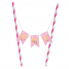 Girl's 1st Birthday Pink Mini Pennant Banner & Mini Cake Stand