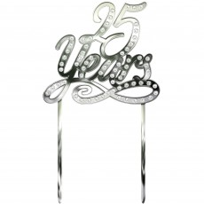 25th Anniversary Silver Electro Plated Plastic Cake Topper
