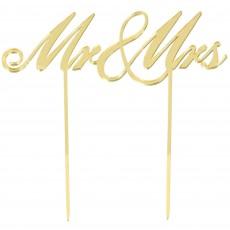 Gold Wedding Mirrored Plastic Mr & Mrs Cake Topper 16cm