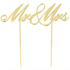 Wedding Gold Mirrored Plastic Cake Topper