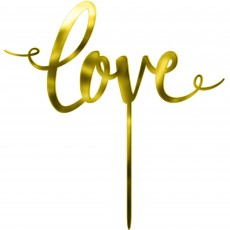 Love Gold Mirrored Plastic Cake Topper
