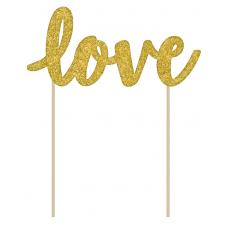 Gold Glittered Love Cardboard Cake Topper 14cm