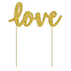 Love Gold Glittered Cardboard Cake Topper