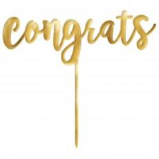 Gold Congratulations Mirror Finish Plastic congrats Cake Topper 16cm x 15cm