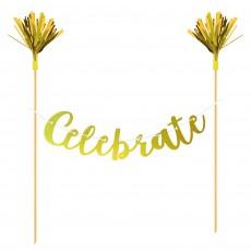 Gold Banner Celebrate Cake Topper 24cm x 27cm