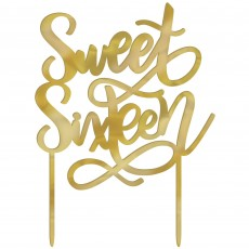 Gold 16th Birthday Elegant Sixteen Blush Sweet Sixteen Cake Topper 12cm x 16cm