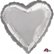 Heart Metallic Silver Love Standard HX Shaped Balloon 45cm