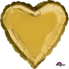 Heart Metallic Gold Love Standard HX Shaped Balloon 45cm