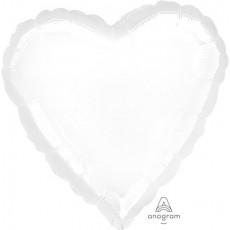 Heart Metallic White Standard HX Shaped Balloon 45cm