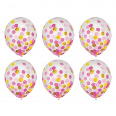Dots Pink & Gold Confetti Latex Balloons 30cm Pack of 6