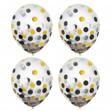 Dots Black, Silver & Gold Confetti Latex Balloons 30cm Pack of 6