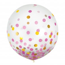 Dots Pink & Gold Confetti Latex Balloons 60cm Pack of 2
