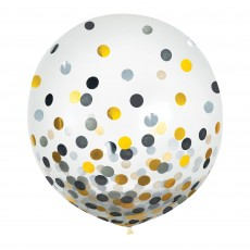 Dots Black, Silver & Gold Confetti Latex Balloons 60cm Pack of 2
