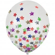 Multi Colour Party Decorations - Latex Balloons Confetti Stars 30cm