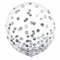 Silver Confetti Latex Balloons