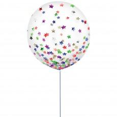 Multi Colour Party Decorations - Latex Balloons Confetti Stars 60cm