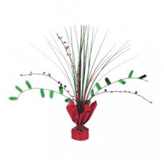 Christmas Party Decorations - Centrepiece Holly Spray Foil