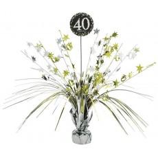 Black, Silver & Gold 40th Birthday Sparkling Celebration Spray Centrepiece 45cm