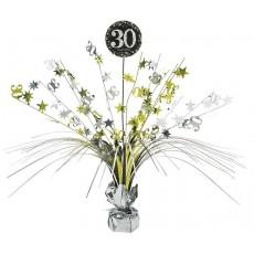 Black, Silver & Gold 30th Birthday Sparkling Celebration Spray Centrepiece 45cm