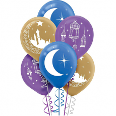 Moon & Stars Mosque, Lantern & Moon Latex Balloons