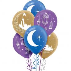 Teardrop Moon & Stars Mosque, Lantern & Moon Latex Balloons 30cm Pack of 15