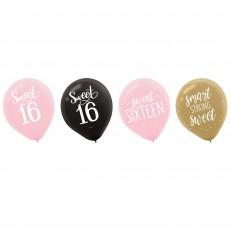 Teadrop 16th Birthday Elegant Sixteen Blush Sweet 16 Latex Balloons 30cm Pack of 15