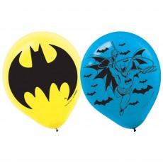 Teardrop Batman Latex Balloons 30cm Pack of 6