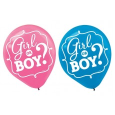 Gender Reveal Girl or Boy? Latex Balloons Pack of 15