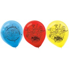 Super Hero Girls Red, Blue & Yellow  Latex Balloons