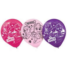 Teardrop Assorted Colours Paw Patrol Girl Latex Balloons 30cm Pack of 6